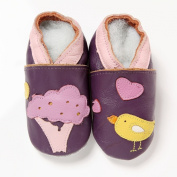 Soft Leather Baby Girls Shoes Purple Bird and Tree 6-12 Months