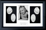 BabyRice New Baby Boy Girl Gift Handprint & Footprint Imprints Kit, Black Box Display Photo Frame