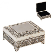 Sophia Silverplated Square Trinket Box with Feet Art Deco Design
