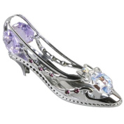 Crystocraft Keepsake Gift Ornament - Silver High Heel Shoe with Swarvoski Crystal Elements