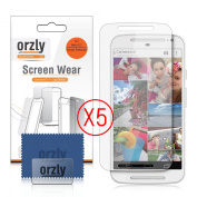 MOTO-G (13cm ) Screen Protectors - Multi-Pack of 5 Transparent Screen Protectors / 5x 100% Clear Screen Guards designed by ORZLY® exclusively for MOTOROLA Moto-G 2nd Gen