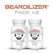 Beardilizer® - #1 Facial Hair and Beard Growth Complex for Men (2 Pack) - 180 Capsules Powerful Nutrients Blend