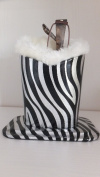 FUR LINED GLASSES HOLDER SPECS STAND FOR READING GLASSES SPECS - ZEBRA PRINT UNUSUAL CHRISTMAS GIFT IDEA