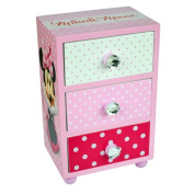 MINNIE MOUSE BEDROOM 3 DRAWER CHEST CABINET STORAGE KIDS WOODEN UNIT BOX PINK