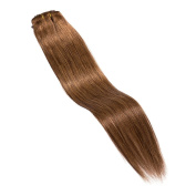 Maria Hair Clip in on 100% Human Hair Extensions 41cm Straight #6 Light Brown