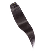 Marian Hair Clip in on 100% Human Hair Extensions 41cm Straight #1 Jet Black
