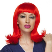 Womens Neon Red Peggy Sue Halloween Costume Wig