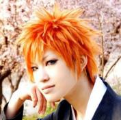 NEW Kurosaki Ichigo Bleach Orange Anime Short Cosplay Wig + Free Wig Cap