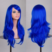 Womens/Ladies 70cm Blue Colour Long CURLY Cosplay/Costume/Anime/Party/Bangs Full Sexy Wig