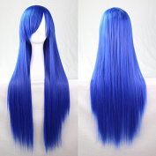 Womens/Ladies 100cm Blue Colour Long STRAIGHT Cosplay/Costume/Anime/Party/Bangs Full Sexy Wig