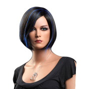 Troadzwig Black Blue Short Straight Bob Hair Natural Fluffy Oblique Bangs Cosplay Wigs for Women Kanekalon Fibre Synthetic