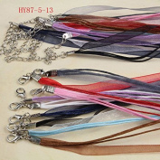 87-5. 50pcs 46cm Mixed Silk Organza Ribbon Necklace Strap Cord Chain 87-5