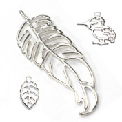 Stones and Findings Exclusive Sterling Silver Feather Pendant Sampler Set - Leaf and Kingfisher