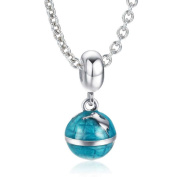 Soufeel 925 Sterling Silver Blue Earth Dangle Charms Beads Compatible Necklace