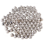 Paradise Kiss Approx 100pcs 10mm Silver Acrylic Bullet Spike Cone Studs, Beads, Sew On, Glue On, Stick On, DIY Garments, Bags & Shoes Embellishment