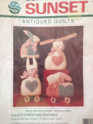 Antiqued Quilts Calico Christmas Bunnies Set of 4
