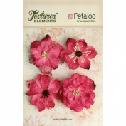 Petaloo Textured Elements Burlap Blossoms, 5.7cm , Fuchsia, 4-Pack