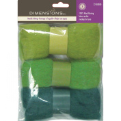 Dimensions Needlecraft 3-Pack Wool Roving, Blue Green
