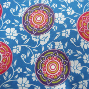 Blue Printed Cotton Fabric Dressmaking Fabric Sewing Craft Material By 1 Yard