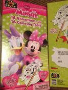 Disney Minnie 16 Valentines with 16 Colouring Tools
