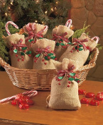 Set of 6 Burlap & Berry Treat Bags