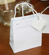 Glossy White Fancy Small Gift Bag - Favour Bag with Cord & Tag - Set of 12 Bags