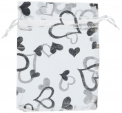 Organza Bags White with Silver Hearts 11cm by 8.9cm