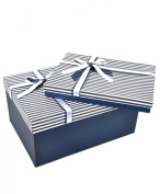 "Boxed-Gifts's Elegant Gift Box Set ""Navy with White Ribbon"""