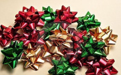 80 Piece Peel-n-Stick Holiday Christmas Gift Bows Assortment - Elegant Metallic, Holographic, Polka Dotted, Striped, Glitter, Lacquer Finishes - Bow Sizes and Colours Will Vary