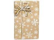 Tan & White Snowflake Gift Wrap Flat Sheet 60cm X 1.8m
