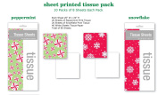 Peppermint and Snowflake Tissue Paper Christmas 80 Sheets of 50cm x 50cm Bulk with White tissue
