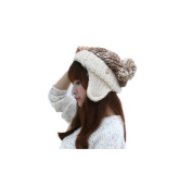 Dealzip Inc® Fashion and Lovely Earmuffs Ear Pattern Women Lady Winter Knitting Beanie Crochet Casual Ball Hat Cap-Light Brown & White +Gift pattern send randomly