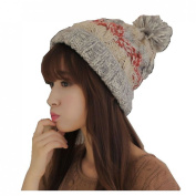 Dealzip Inc® Fashion and Lovely Braided Style Women Lady Winter Wool Knitting Beanie Crochet Casual Big Ball Hat Cap-Beige +Gift pattern send randomly