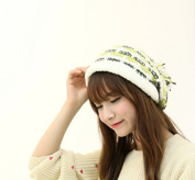 Dealzip Inc® Fashion and Lovely Women Lady Winter Knitting Beanie Crochet Casual Ball Hat Cap-Green and White Stripe +Gift pattern send randomly