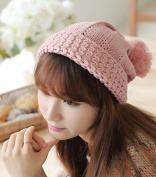 Dealzip Inc® Fashion and Lovely Cute Style Women Lady Winter Wool Knitting Beanie Beret Crochet Casual Big Ball Hat Cap-Pink +Gift pattern send randomly
