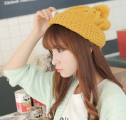 Dealzip Inc® Fashion and Lovely Cute Style Women Lady Winter Wool Knitting Beanie Beret Crochet Casual Big Ball Hat Cap-Yellow +Gift pattern send randomly