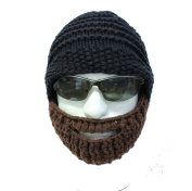 Knitted Beard Hat, Hand Knitted Bearded Beanie Hat, with Brown Beard