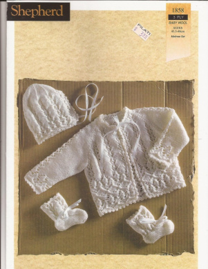 Knitting Patterns And Wool Sets : Baby Wool Matinee Set Shepherd Knitting Pattern 1858 by Shepherd - Shop Onlin...