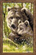 Bear With Cub Counted Cross Stitch Kit-22cm x 38cm 10 Count