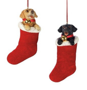 Set of 2 Labs in Christmas Stockings Ornaments