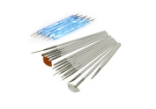 H.H.H 15Pcs Nail Art Design Painting Drawing Brushes White + 5 X 2 Way Marbleizing Dotting Pen Tools Set/Nail Art Painting Pen Brush