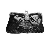 TdZ Romantic Lace & Satin with Diamante Feature Party Clutch w/ Strap