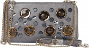 Arcadia U.S.A. Circle Bronze Tone Clear Gem And Pointed Stud Evening Bag ZC3013-PR