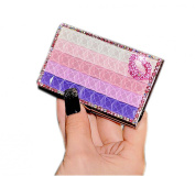 Shinning Gradient Purple Rhinestone Business Card Case/9.5x5.5cm