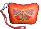 Genuine Leather Wristlet Mini Wallet/cards Holder, Brown Butterfly Shape and Pattern