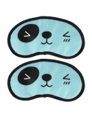 Travel Sleep Blindfold Panda Pattern Eyepatch Eye Mask Black Cyan 2pcs