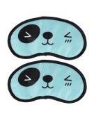 Travel Sleep Blindfold Panda Pattern Eyepatch Eye Mask Black Cyan 2pcs