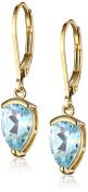 18k Yellow Gold Plated Sterling Silver Sky Blue Topaz Lever Back Teardrop Earrings