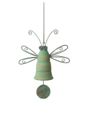 Ancient Graffiti Hanging Teal Dragonfly Body Bell Ornament, 23cm by 30cm