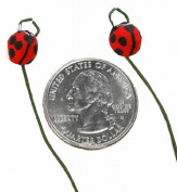 Artificial Lifesize Ladybugs on Wire Picks - Box of 24 - For Flower Arrangement Decorations or Crafts
